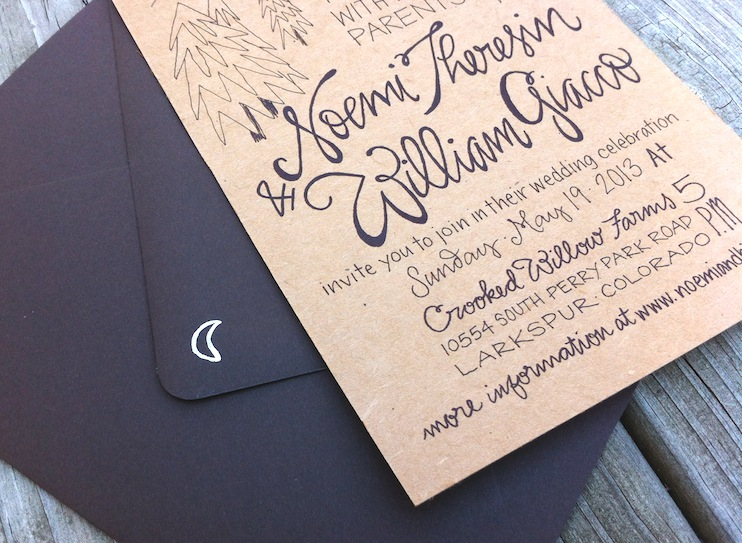 Noemi BJs Hand Lettered Kraft Paper Wedding Invitations