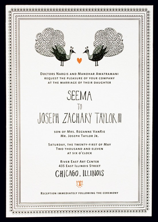 LOUIE Winner Invitation Suite Mr Boddington Studio1 550x775 Seema + Josephs Whimsical Illustrated Wedding Invitations