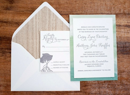 Watercolor + Letterpress Wedding Invitations by Make Merry via Oh So Beautiful Paper (1)