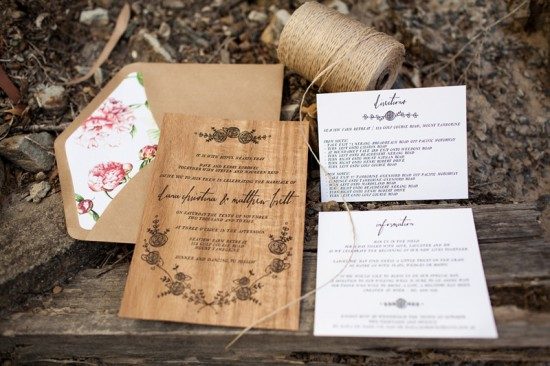 Letterpress Wood Wedding Invitations by Birds of a Feather via Oh So Beautiful Paper (1)