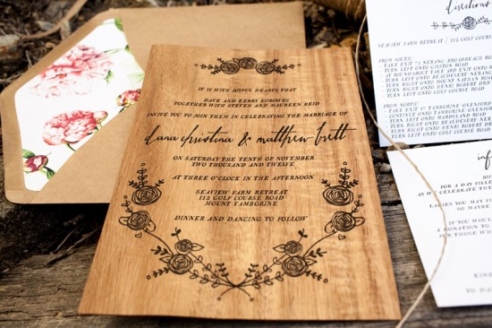 Rustic Letterpress Wood Wedding Invitations Birds of a Feather3 550x366 Dana + Matts Rustic Floral Wood Veneer Wedding Invitaions