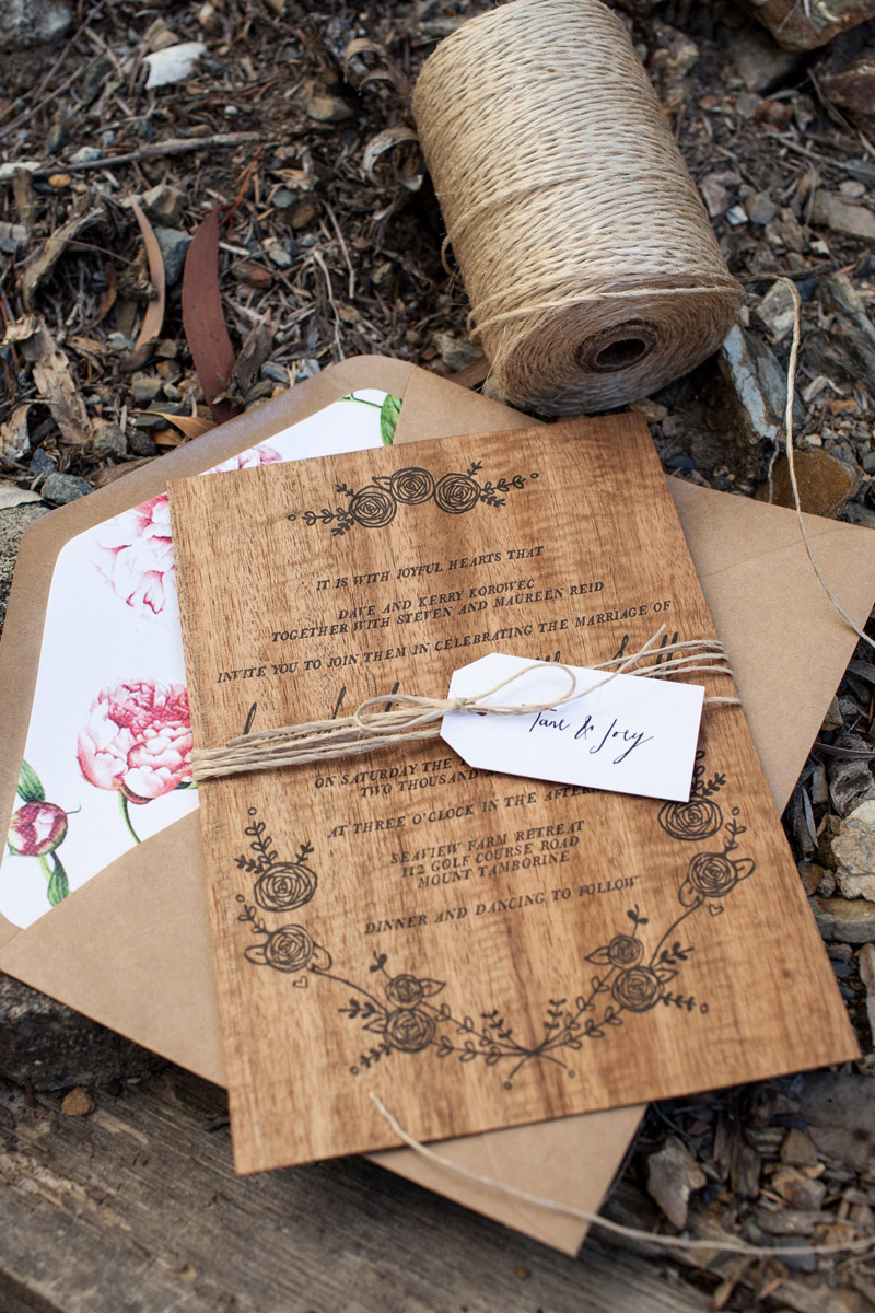 letterpress wood wedding invitations by birds of a feather via oh so beautiful paper 4 - Wood Wedding Invitations