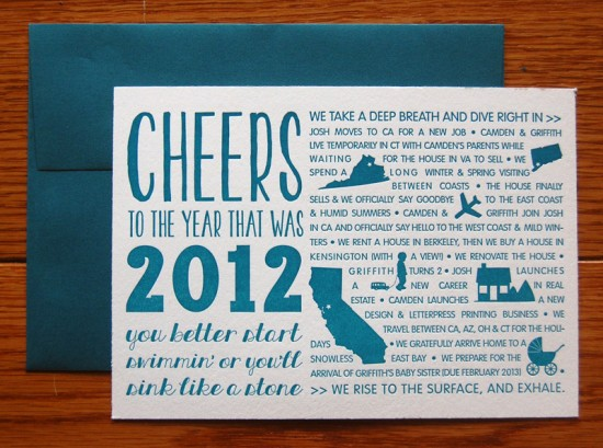 Teal Graphic Moving Announcement Holiday Cards Studio Epherma2 550x409 Camdens Typographic Year In Review Holiday Cards