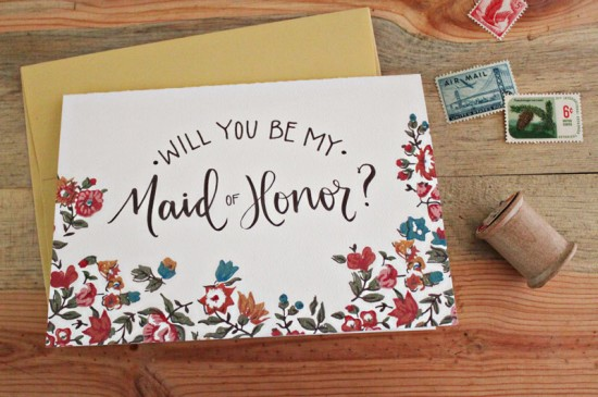 Will You Be My Floral Calligraphy Card 550x365 Greeting Cards A – Z: Bridesmaid and Maid of Honor Cards