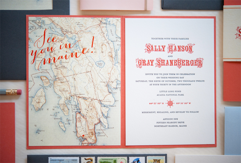 Sally Grays Maine Map Destination Wedding Invitations – Maine Travel Map