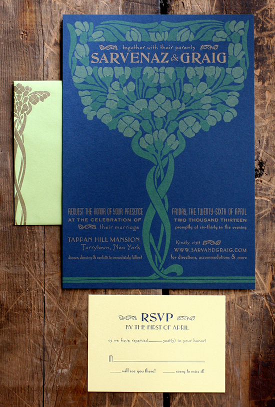 Art Nouveau Letterpress Wedding Invitations Starshaped Sarvenaz + Graigs Art Nouveau Wedding Invitations
