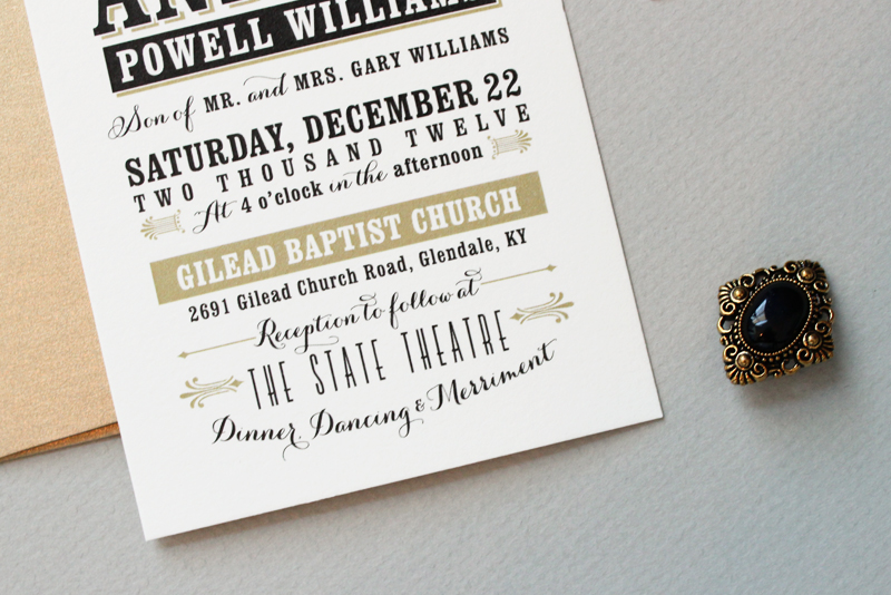 Jessica andrews vintage inspired typography wedding invitations black and gold typographic wedding invitations by megan wright design co via oh so beautiful stopboris Images