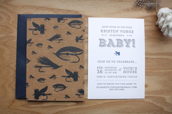Fly Fishing Inspired Letterpress Baby Shower Invitations by Print In Cursive via Oh So Beautiful Paper (4)