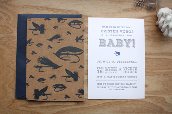 kristen's fly fishing inspired baby shower invitations, Baby shower invitations