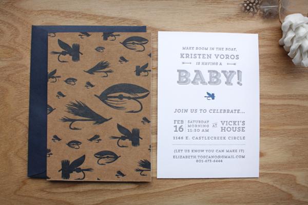 Kristen 39 s fly fishing inspired baby shower invitations for Fishing baby shower invitations