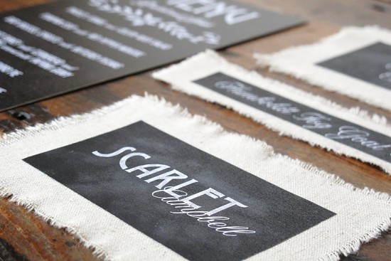 Linen + Chalkboard Wedding Invitations by Blue Magpie (2)