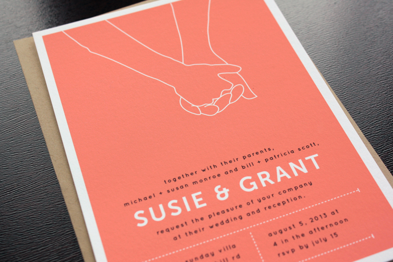 Susie Grants Modern Hand Hold Wedding Invitations