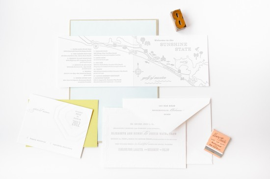 Modern Letterpress Wedding Invitations Mae Mae Paperie9 550x366 Elizabeth + Justins Modern Destination Wedding Invitations