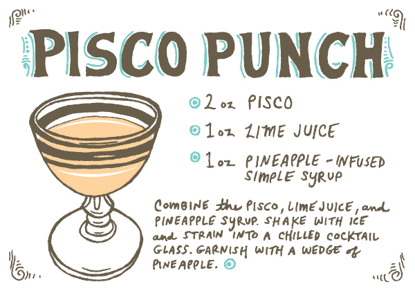 Pisco Punch Recipe Card, Illustration by Caitlin Keegan for Oh So Beautiful Paper