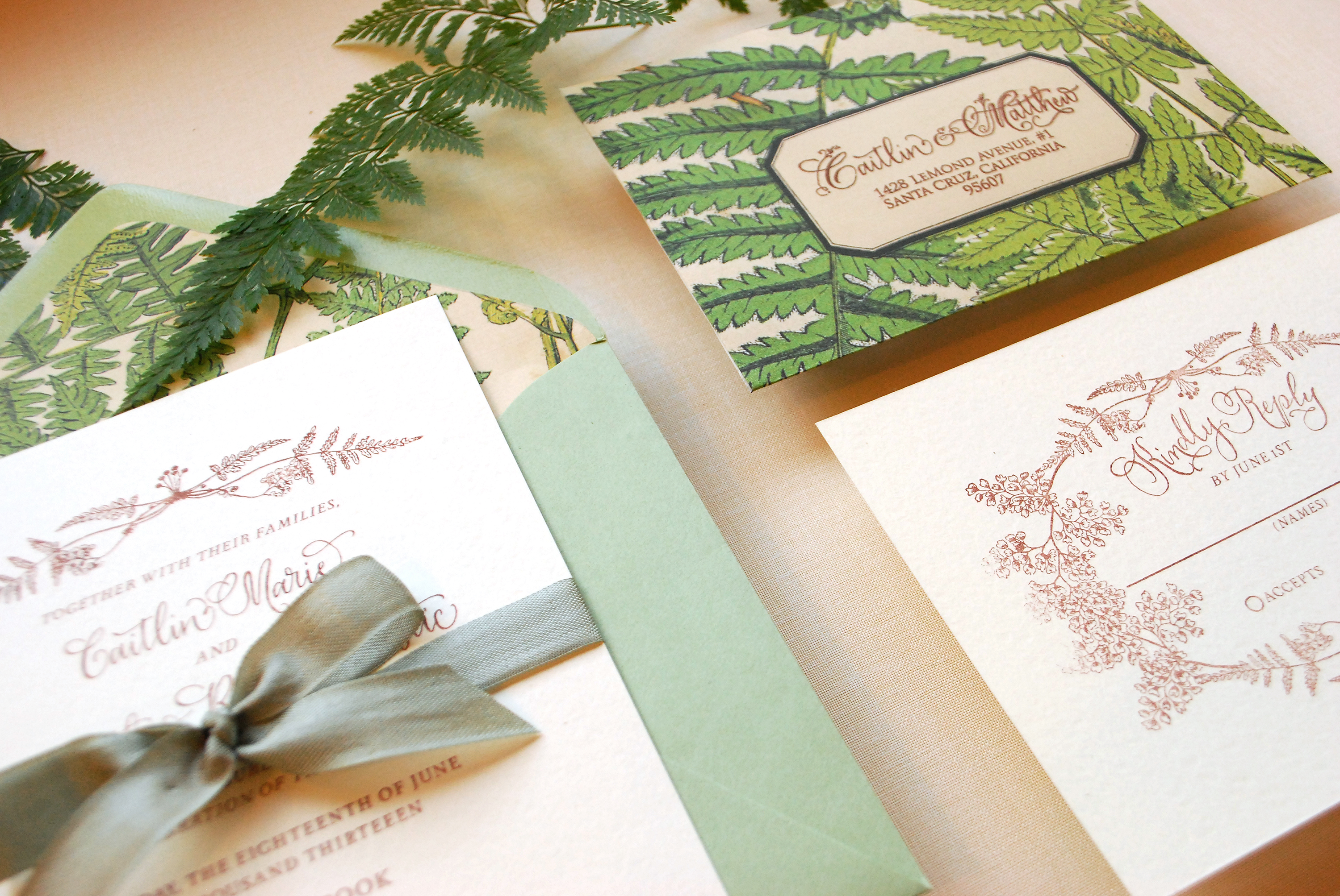 DIY Tutorial: Vintage Fern Wedding Invitations