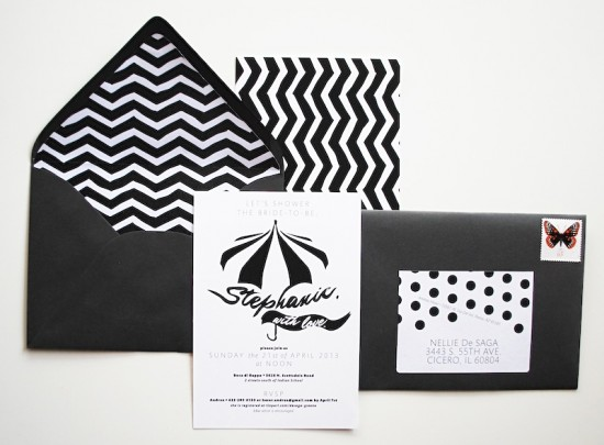 Black + White Spring Bridal Shower Invitations by Featherpress Design via Oh So Beautiful Paper (4)