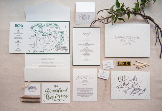 Summer Camp Wedding Invitations by Gus & Ruby Letterpress via Oh So Beautiful Paper (11)