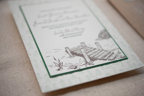 Summer Camp Wedding Invitations Gus Ruby Letterpress6 550x366 Sarah + Bens Summer Camp Inspired Wedding Invitations