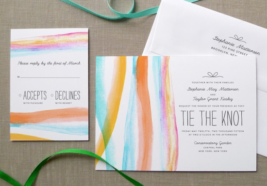Watercolor Wedding Invitations by Fine Day Press via Oh So Beautiful Paper (4)