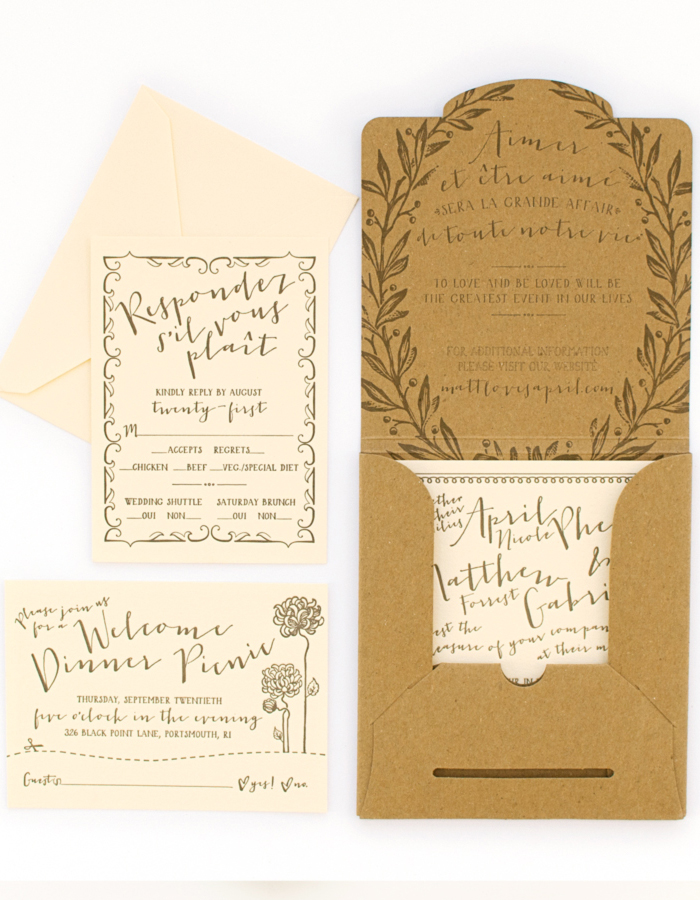 April + Matt\'s French Garden Party Wedding Invitations