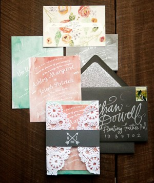 Romantic Watercolor + Lace Wedding Invitations by Crissie McDowell via Oh So Beautiful Paper (6)
