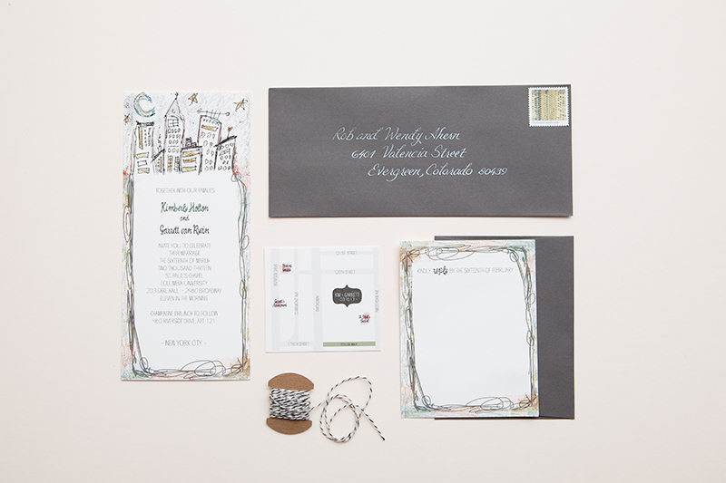 Kim Garretts Whimsical Illustrated NYC Wedding Invitations