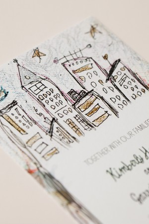 Whimsical Illustrated NYC Wedding Invitations by Katie Fischer Design via Oh So Beautiful Paper (4)