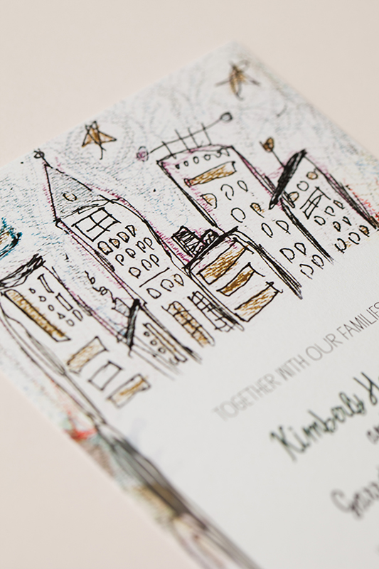 whimsical illustrated nyc wedding invitations by katie fischer design via oh so beautiful paper 4