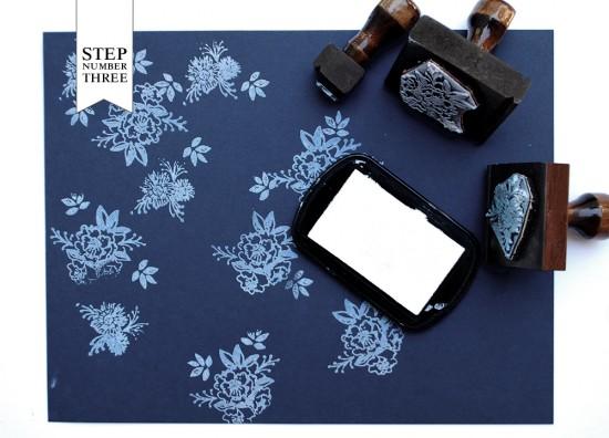 DIY Tutorial: Floral Indigo Wedding Invitations by Antiquaria via Oh So Beautiful Paper