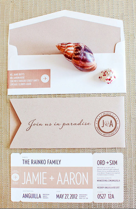 modern romantic destination wedding invitations by made by kara via oh