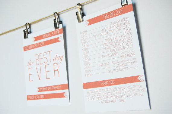 Wedding Stationery Inspiration: Day-of Itineraries