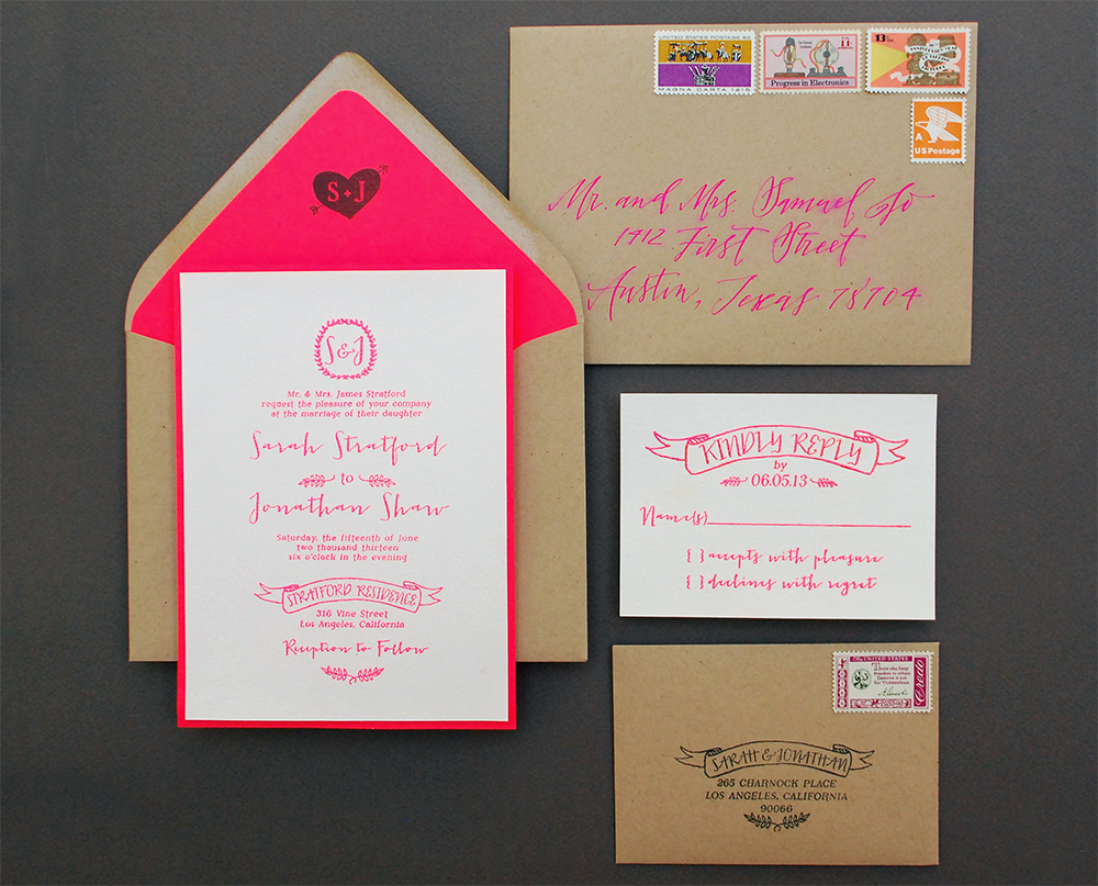 DIY Tutorial: Neon + Kraft Paper Wedding Invitations