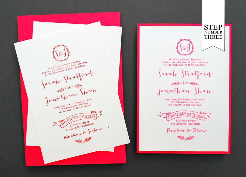 diy tutorial neon  kraft paper wedding invitations, invitation samples