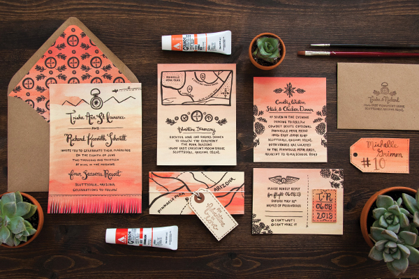 Arizona Sunset Wedding Invitations by Lovely Paper Things via Oh So Beautiful Paper (11)
