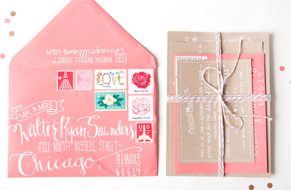 Kraft + Coral Wedding Invitations by Swiss Cottage Designs via Oh So Beautiful Paper (3)