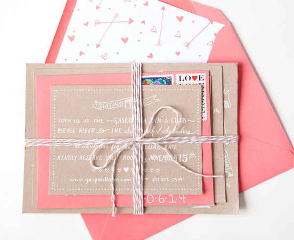 Kraft + Coral Wedding Invitations by Swiss Cottage Designs via Oh So Beautiful Paper (2)