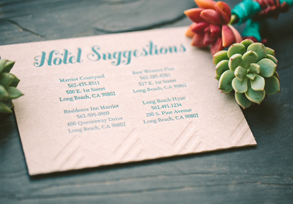 Teal + Chipboard Chevron Stripe Letterpress Wedding Invitations by Metal Doily Press via Oh So Beautiful Paper (2)