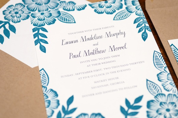 Wedding Invitation Printing.Emma Paul S Floral Block Printed Wedding Invitations