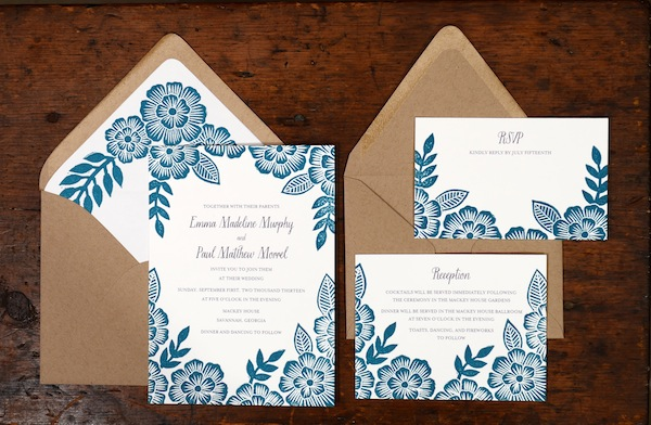 Floral Block Printed Wedding Invitations By Katharine Watson Via Oh So Beautiful Paper 4
