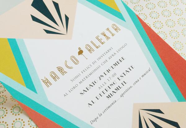 Superior Colorful Miami Art Deco Wedding Invitations By Umama Via Oh So Beautiful  Paper (1)