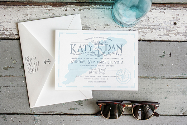 Lakeside Wisconsin Letterpress Wedding Invitations by Lucky Luxe Couture Correspondence via Oh So Beautiful Paper (3)