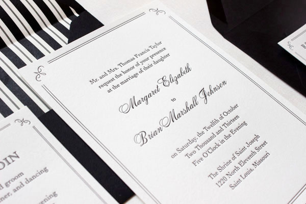 margaret + brian's elegant formal wedding invitations, Wedding invitations