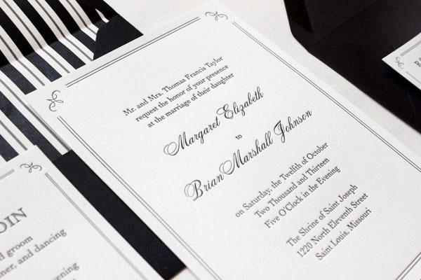 margaret + brian's elegant formal wedding invitations, Wedding invitations