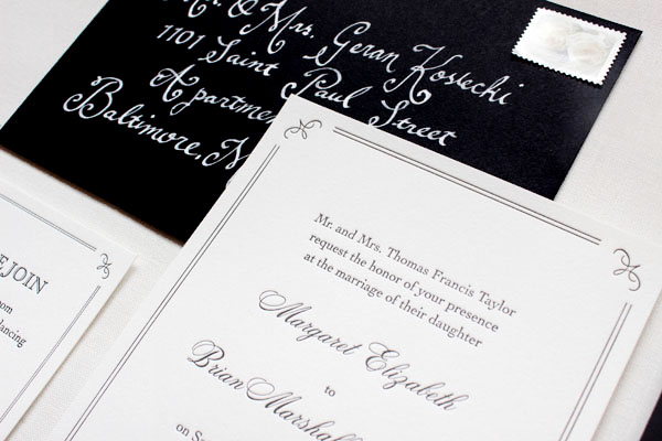 Elegant and Formal Black + White Letterpress Wedding Invitations by Anne Kostecki via Oh So Beautiful Paper (3)