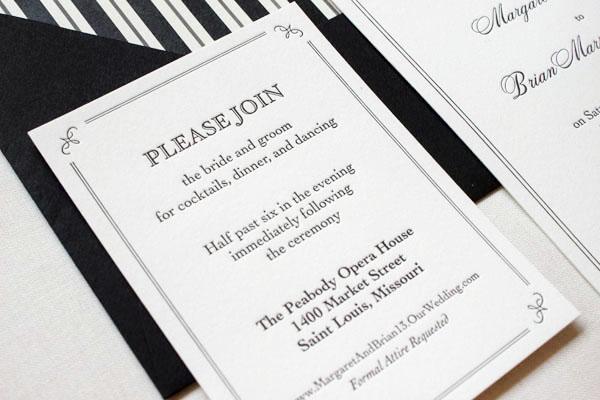 Elegant and Formal Black + White Letterpress Wedding Invitations by Anne Kostecki via Oh So Beautiful Paper (2)