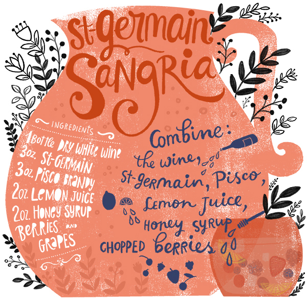 Recipe Card: St-Germain Sangria, Illustration by Dinara Mirtalipova for Oh So Beautiful Paper