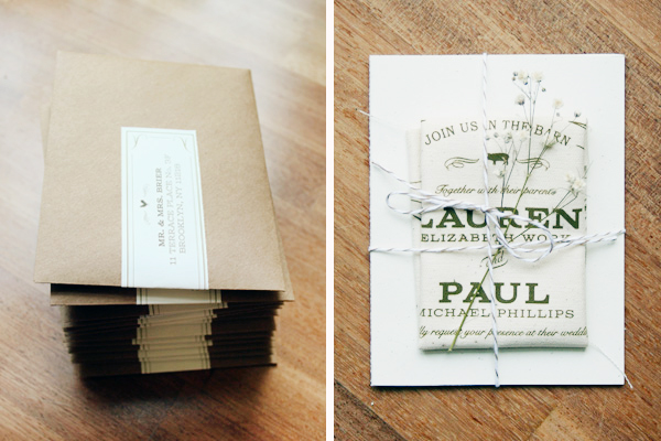 Rustic Fabric Barn Wedding Invitations by Jessi Evans via Oh So Beautiful Paper (2)