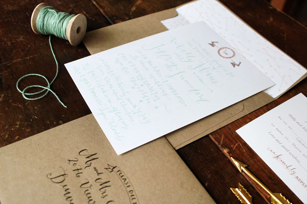 Rustic Calligraphy Wedding Invitations by la Happy via Oh So Beautiful Paper