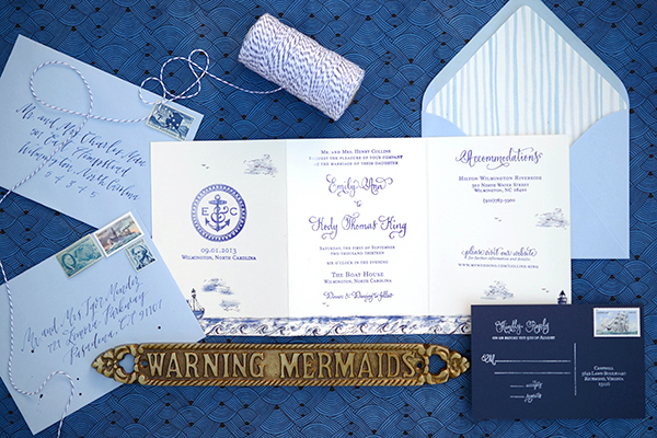 DIY Tutorial: Stamped Nautical Tri-Fold Wedding Invitation Suite by Antiquaria for Oh So Beautiful Paper