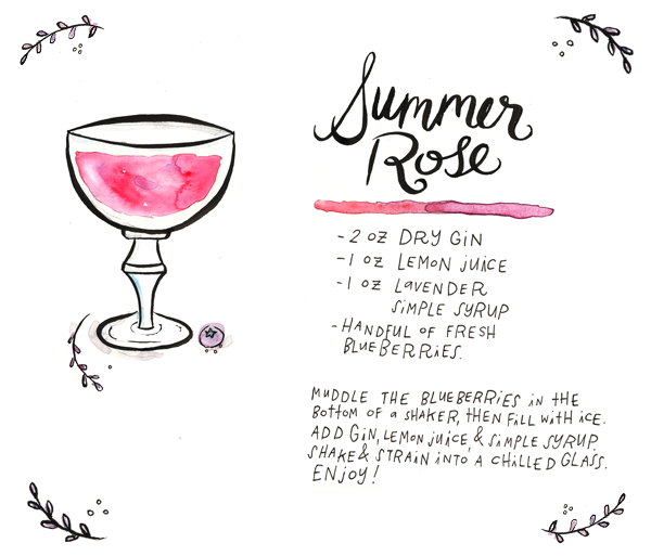 OSBP Summer Rose Signature Cocktail Recipe Card, Illustration by Tuesday Bassen for Oh So Beautiful Paper